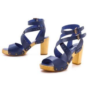 Marais USA Blue Leather Strapy Sandals